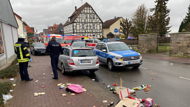 At least 30 people were injured when the car ploughed into the crowd