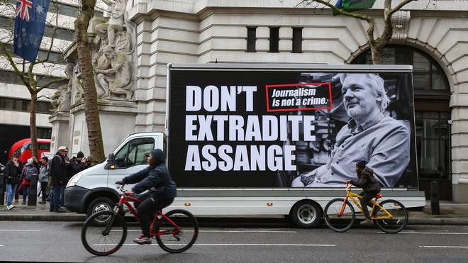 Supporters of Julian Assange gather outside Australia House