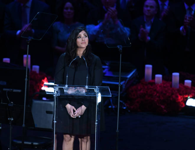 Vanessa spoke at a public memorial for her husband and daughter