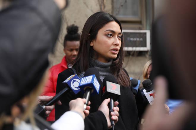 Ambra Battilana Gutierrez speaks outside court