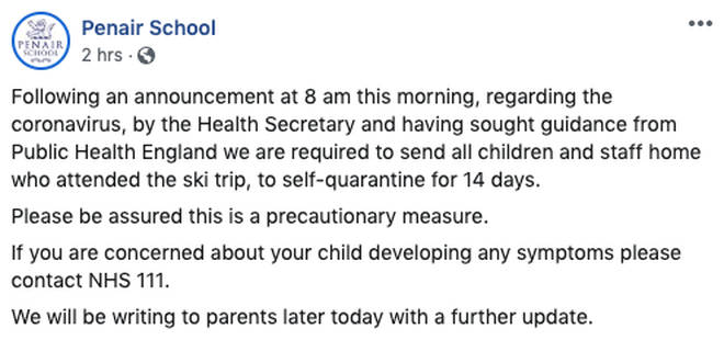 The school announced the decision on Facebook