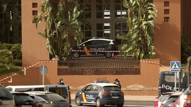 A police cordon has been set up at the hotel in Tenerife
