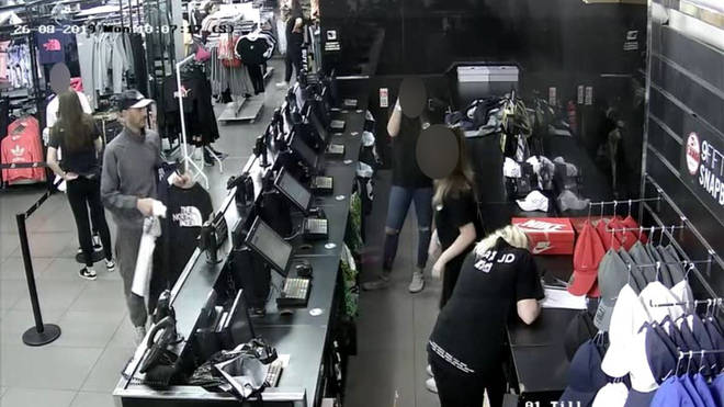 CCTV from the store shows Whitfield buying the t-shirt with the stolen card which he was laster arrested wearing