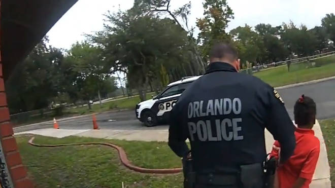 Police arrest the girl at the school in Orlando