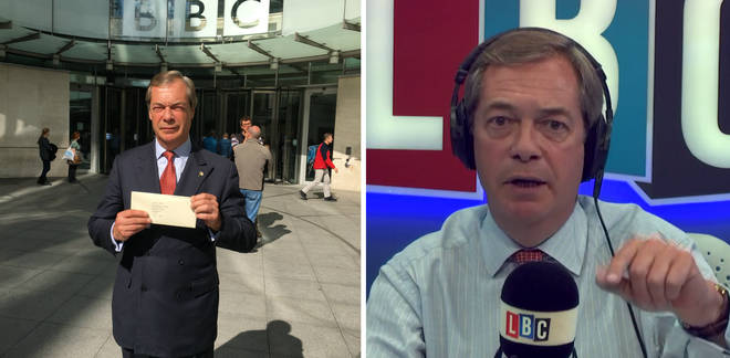 Nigel Farage hand-delivers complaint to BBC.
