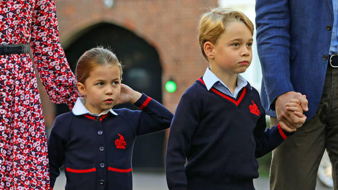Prince George and Princess Charlotte arriving at Thomas's Battersea