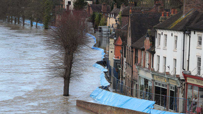 The scene in Ironbridge, Shropshire, where residents in riverside properties have been told to leave their homes