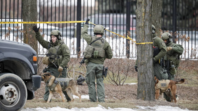 Police respond to reports of an active shooting at the Molson Coors Brewing Co. campus in Milwaukee