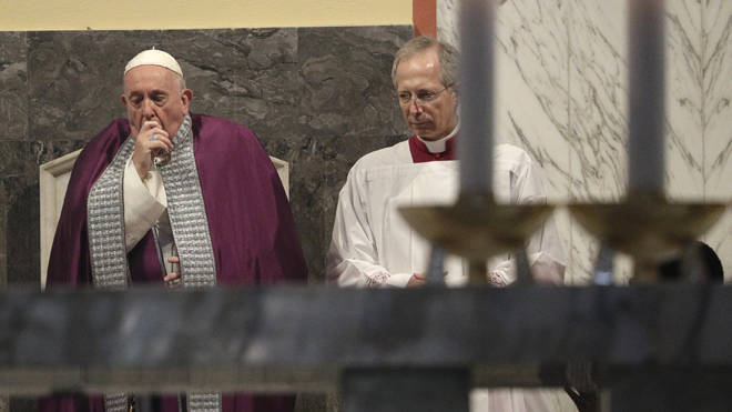 The pope was seen unwell at a service yesterday