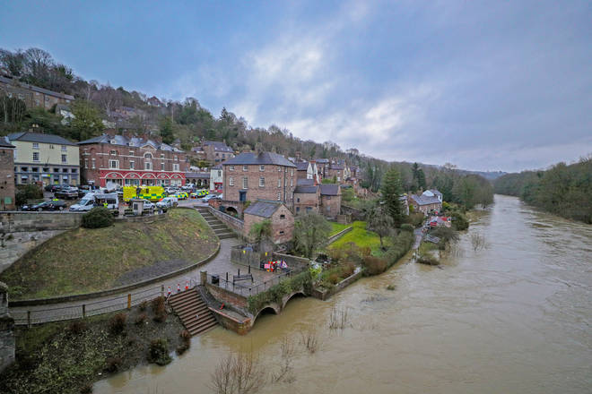 Flood defences have given way to the River Severn, including at Ironbridge on its banks