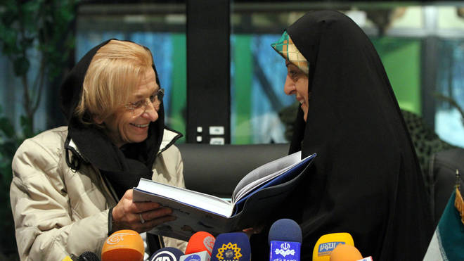 Masoumeh Ebtekar (R) meets with Italian Foreign Minister Emma Bonino (L)
