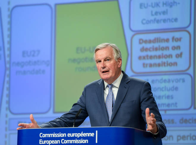 EU chief Brexit negotiator Michel Barnier updating press about negotiations with the UK