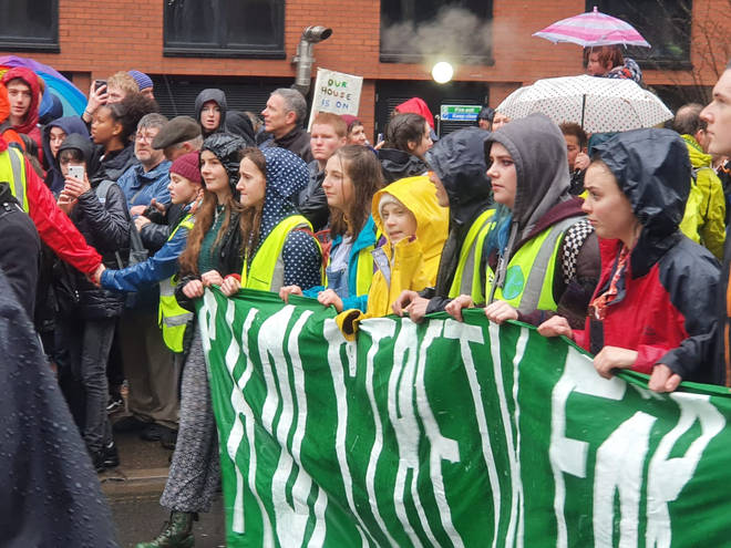 The eco activist marched with climate campaigners in Bristol