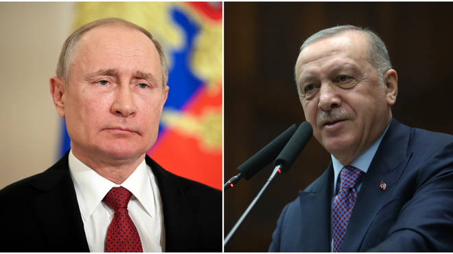 Putin (L) and Erdoğan (R) have spoken on the phone to discuss the Syrian conflict