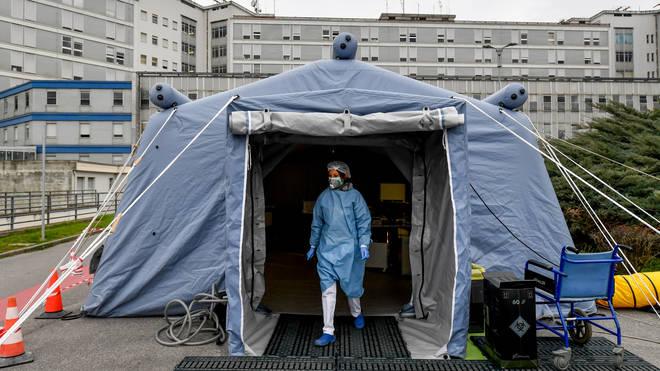An isolation tent outside an Italian hospital