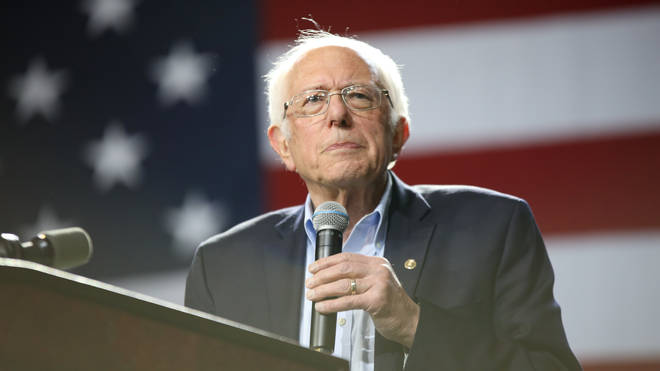 Bernie Sanders holds a campaign rally in Los Angeles