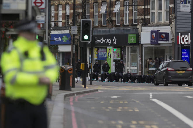 Police at the scene of the attack in Streatham