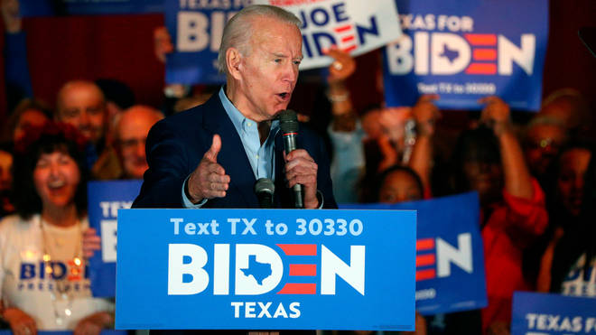 Democratic presidential candidate former Vice President Joe Biden speaks after being endorsed by Sen. Amy Klobuchar