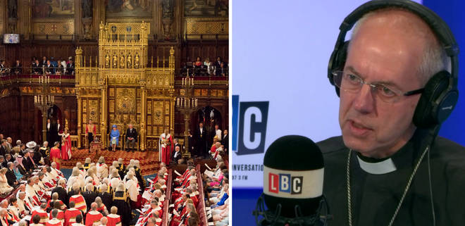 "The Archbishop of Canterbury says the House of Lords is ""too big""."