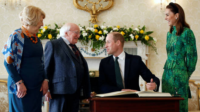(left to right) Sabina Higgins, President Michael D Higgins, the Duke of Cambridge, the Duchess of Cambridge