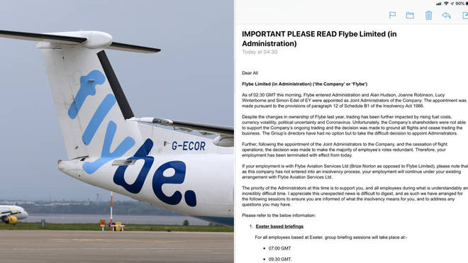 Flybe staff were emailed two hours after the company went into administration