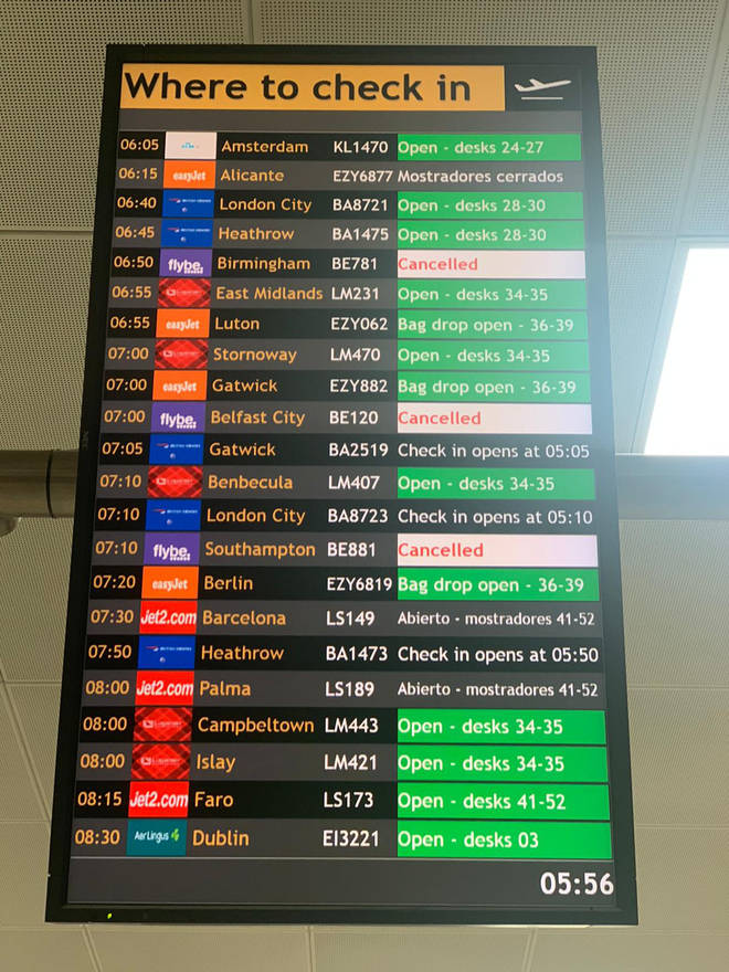 Glasgow Airport has seen all Flybe flights cancelled