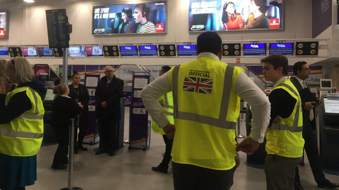 Government officials at Birmingham Airport to advise Flybe customers