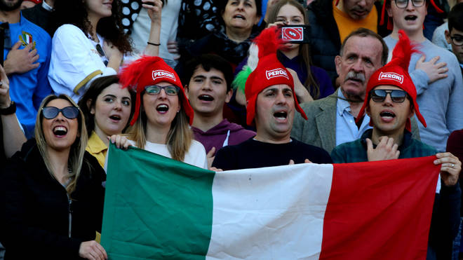 Supporters of Italy show a flag ,during the 2020 Guinness Six Nations match between Italy and Scotland