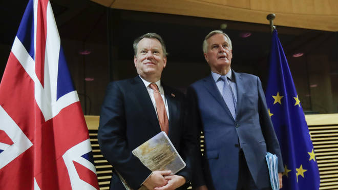 Mr Frost (L) and Mr Barnier (R) held talks in Brussels