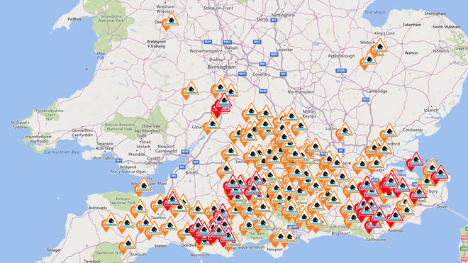 More than a hundred flood warnings and alerts are in place