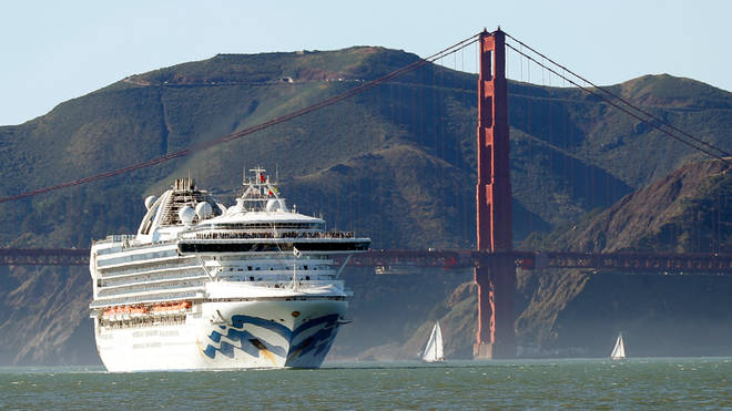File photo: the Grand Princess cruise ship passes the Golden Gate Bridge as it arrives from Hawaii in San Francisco