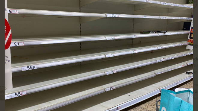 Shelves emptied of pasta in Tesco in Horsham