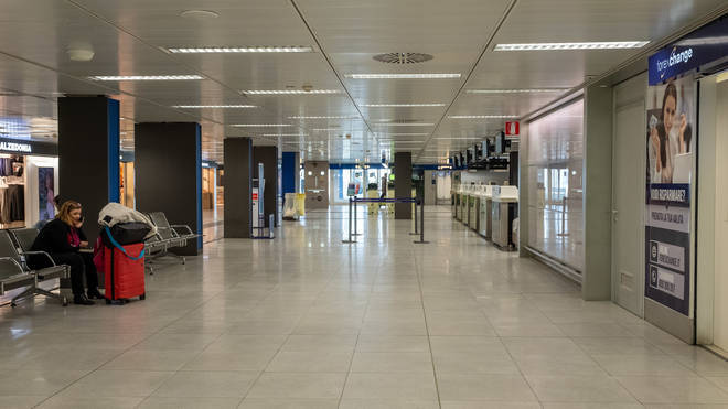 Linate airport is almost completely empty due to the Coronavirus emergency