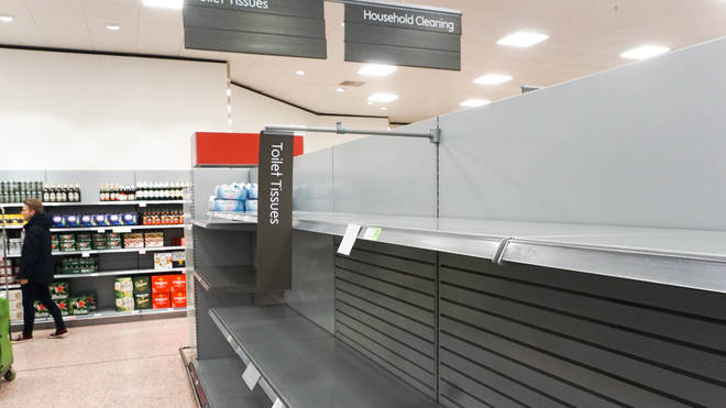 Shelves in some supermarkets were left empty after panic buying