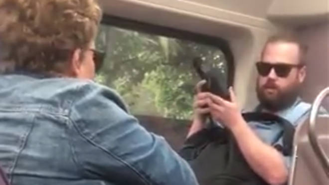 The pair were filmed in the clash on board a train in Sydney
