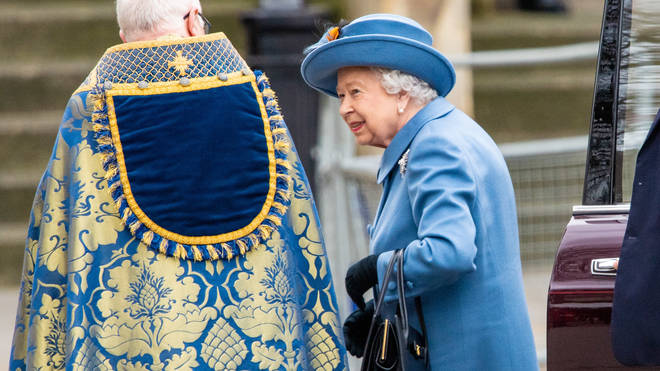 The Queen arrived for the service