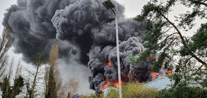 Flames have engulfed the industrial unit
