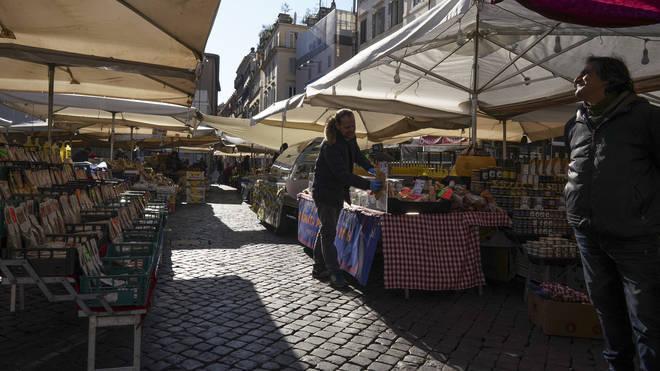 The Campo dei Fiori market in Rome was empty on Tuesday