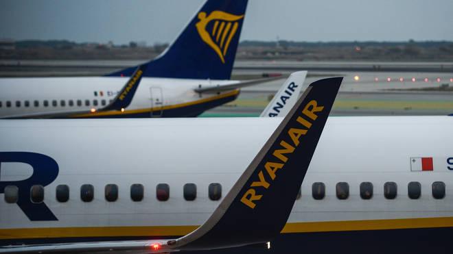 File photo: Irish budget airline Ryanair aircraft Boeing 737-800 at Barcelona international airport