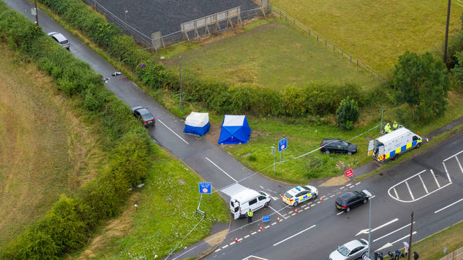 An aerial view of the scene at Ufton Lane, near Sulhamstead, Berkshire, where Pc Andrew Harper died