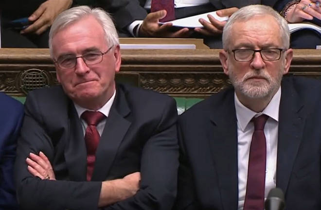 Shadow Chancellor John McDonnell and Jeremy Corbyn listen to Chancellor Rishi Sunak's Budget