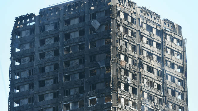 The remains of the Grenfell Tower