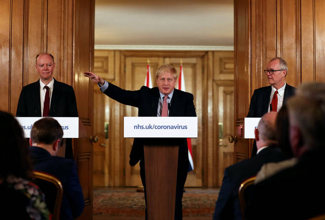 Prime Minister Boris Johnson spoke yesterday at a news conference inside 10 Downing St