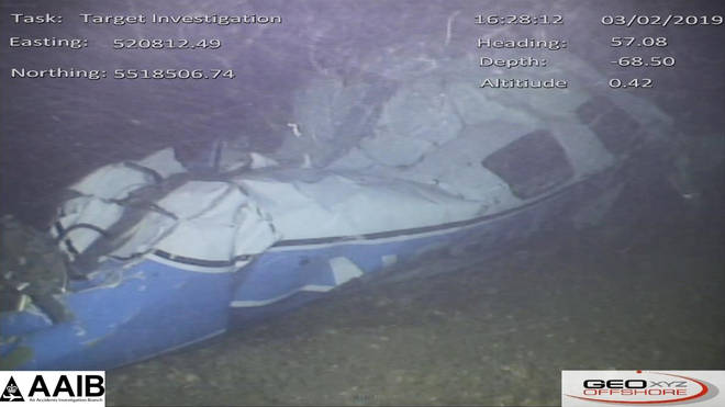 The wreckage of the plane, found on the sea bed near Guernsey