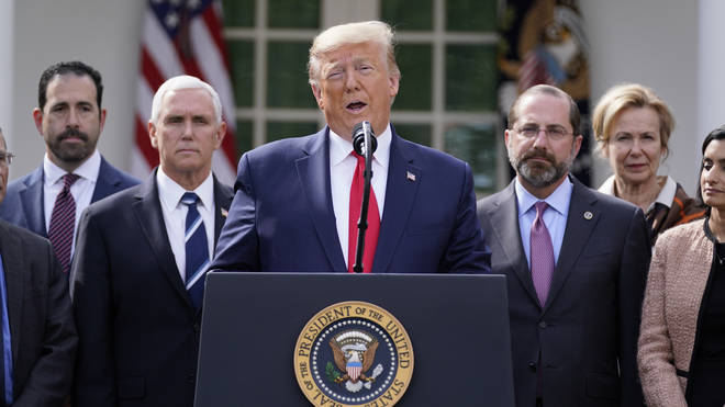 Mr Trump spoke from the White House Rose Garden