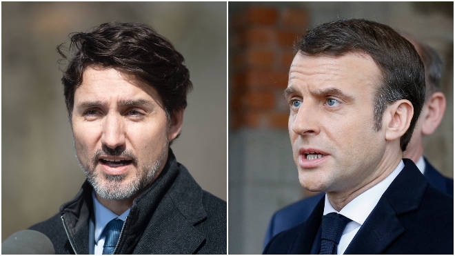 Trudeau (L) and Macron (R) say Canada's and France's borders will close
