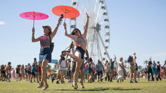 Festival goers walk the grounds at the Coachella Valley Music and Arts Festival