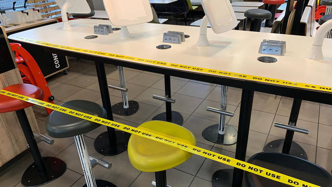 McDonalds stores have shut down their seating areas across the UK