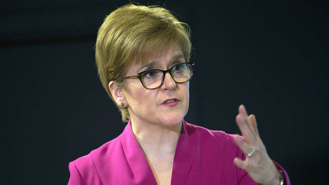 First Minister Nicola Sturgeon holding a media briefing at St Andrew's House in Edinburgh