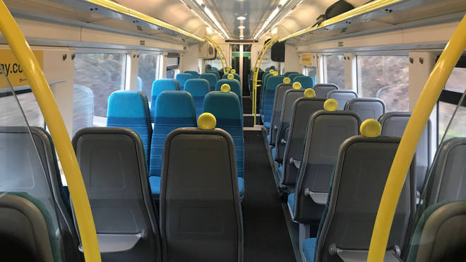 Coronavirus and essential travel rules mean a near empty train in London